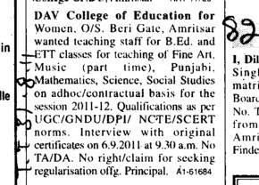 Teaching Staff for BEd (DAV College of Education for Women)