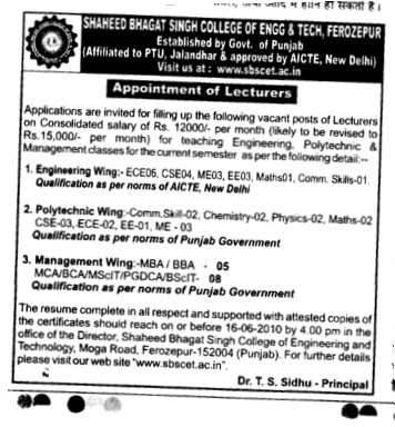 Lecturers for MBA and BBA Programmes (Sri Sukhmani Institute of Engineering and Technology)