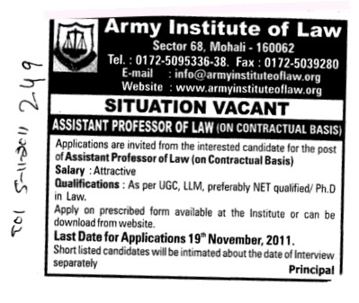 Assistant Proffessor of Law (Army Institute of Law)