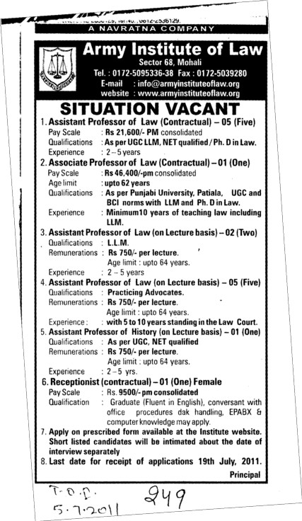 Assistant Proffessor of Law on temporary basis (Army Institute of Law)