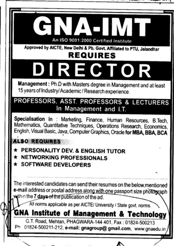 Director Proffessors Associate Proffessors and Assistant Proffessors etc (GNA Institute of Management and Technology)