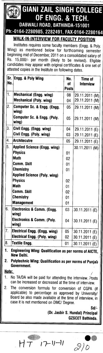 Lecturer for Physics Chemistry and Math etc (Giani Zail Singh College Punjab Technical University (GZS PTU) Campus)