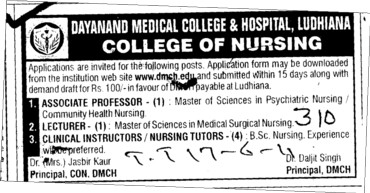 Associate Proffessor and Lecturer for regular basis (Dayanand Medical College and Hospital DMC)