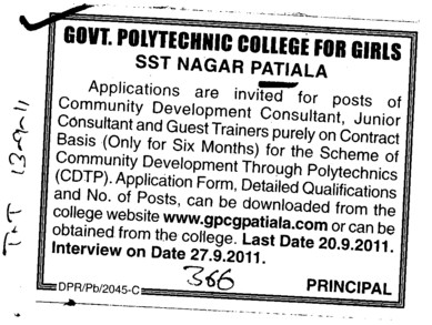 Community Development Consultant (Government Polytechnic College for Girls)