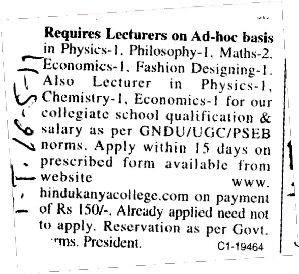 Lecturer for Physical and Chemistry etc (Hindu Kanya College)