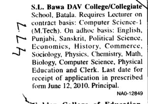 Lecturer on Contract basis (SL Bawa DAV College)