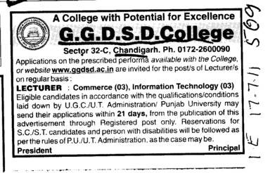 Lecturer for Commerce and Information Technology (GGDSD College)