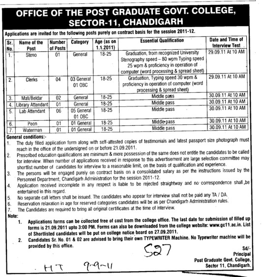 Steno Clerk and Peon on contract basis (Post Graduate Government College (Sector 11))