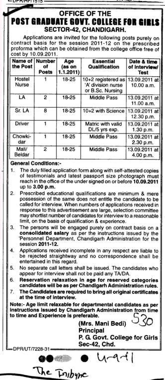 Hostel Nurse and Driver on Contract basis (PG Government College for Girls (GCG Sector 42))
