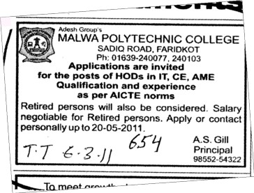 HODs for BTech (Malwa Polytechnic College)