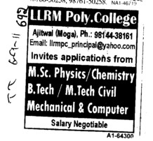 Proffessor and Lecturer for BTech MTech and Physics etc (Lala Lajpat Rai Memorial Polytechnic College)