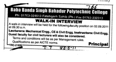 Lecturer for BTech Course (Baba Banda Singh Bahadur Polytechnic College)