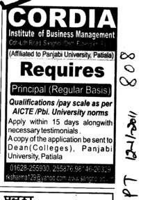 Principal on regular basis (Cordia Institute of Business Management)