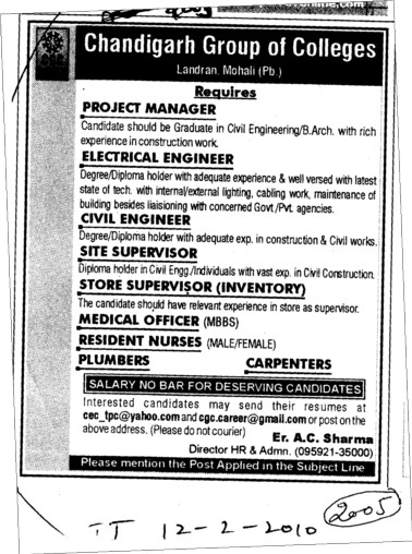 Prooject Manager and Site Supervisor etc (Chandigarh Group of Colleges)