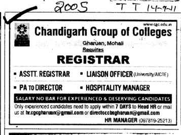 Assistant Registrar and Liaison Officer etc (Chandigarh Group of Colleges)