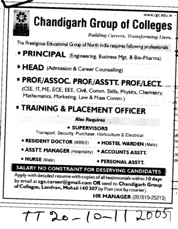 Principal Head Proffessors Associate Proffessors and Assistant Proffessors etc (Chandigarh Group of Colleges)