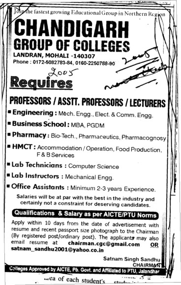 Lab Technician Proffessors Associate Proffessors and Assistant Proffessors etc (Chandigarh Group of Colleges)