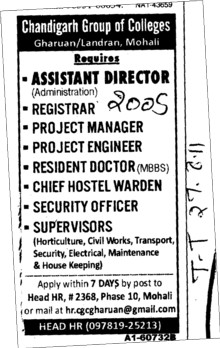 Assistant Director Registrar and Project Engineer etc (Chandigarh Group of Colleges)