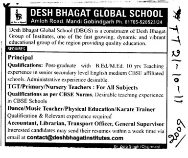 Principal and Nursery Teachers etc (Desh Bhagat Group of Institutes)