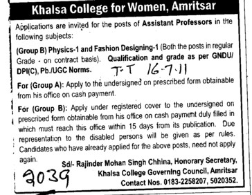 Assistant Proffessor for Physics and fashion Designing (Khalsa College Charitable Society Group)