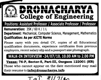 Assistant Proffessor and Associate Proffessor etc (Dronacharya College of Engineering (DCE))