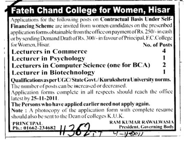 Lecturer in Commerce Psychology and biotechnology etc (FC College for Women)