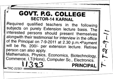 Teachers on Lecture basis (Government Post Graduate College)