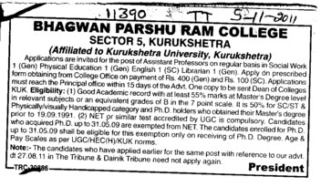 Assistant Proffessor for English and Pol Science etc (Bhagwan Parshu Ram College)