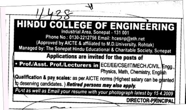 Proffessors Associate Proffessors and Assistant Proffessors etc (Hindu College of Engineering (HCE))