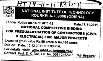 National Competitive Bidding for Prequalification of Contractors for major projects (National Institute of Technology (NIT))