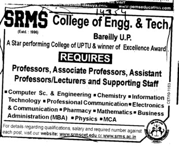 Proffessors Associate Proffessors and Assistant Proffessors etc (SRMS College of Engineering & Technology)