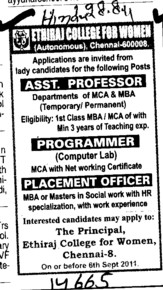 Assistant Proffessor and Placement Officer etc (Ethiraj College for Women Egmore)