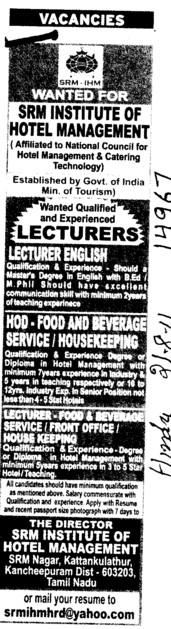 Lecturer and HOD required (SRM Institute of Hotel Management)