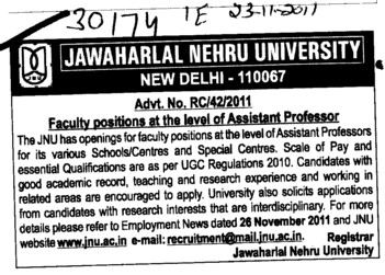 Assistant Proffessor required (Jawaharlal Nehru University)