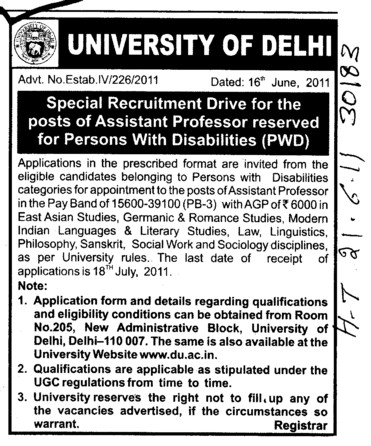 Assistant Proffessor on regular basis (Delhi University)