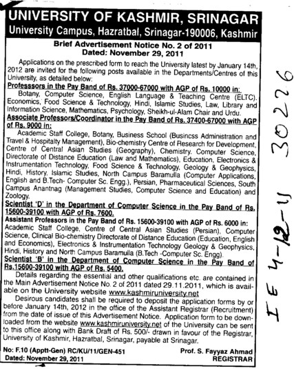 Proffessors Associate Proffessors and Assistant Proffessors etc (University of Kashmir Hazbartbal)