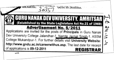 Principal required (Guru Nanak Dev University (GNDU))