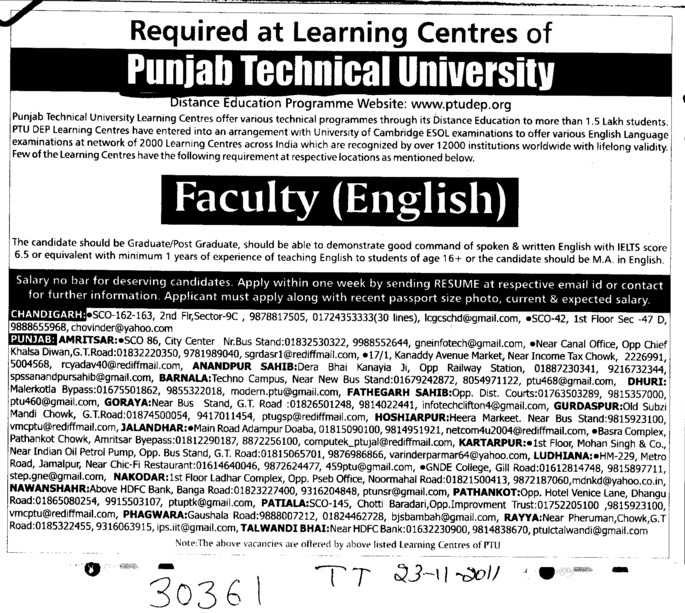 Faculty for English (IK Gujral Punjab Technical University PTU)