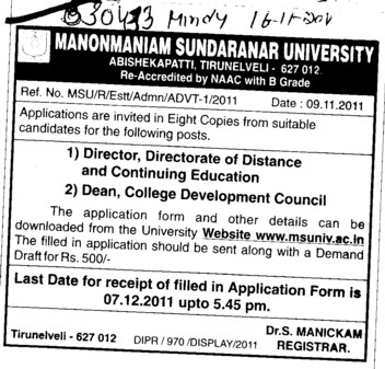 Director Dean and College Development Council etc (Manonmaniam Sundaranar University)