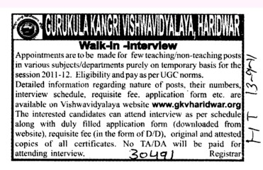 Lecturers on contract basis (Gurukul Kangri Vishwavidyalaya)