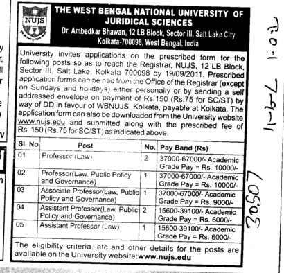 Proffessor and Assistant Proffessor (West Bengal National University of Juridical Sciences)