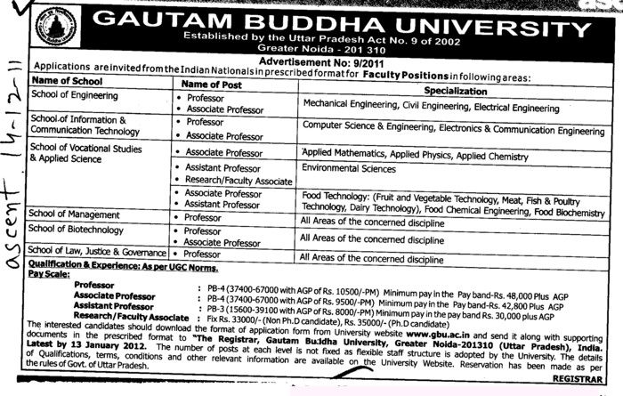 Proffessors Associate Proffessors and Assistant Proffessors etc (Gautam Buddha University (GBU))