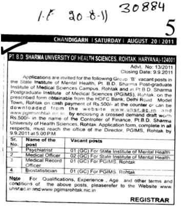 Psychiatrist and Medical Record Officer etc (Pt BD Sharma University of Health Sciences (BDSUHS))