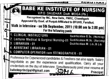 Clinical Instructor and Librarian etc (Babe Ke Institute of Nursing)
