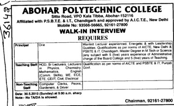 Teaching Staff for Hindi and English (Abohar Polytechnic College)