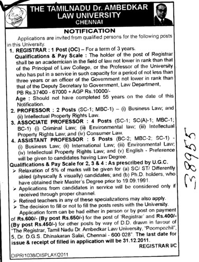 Registrar Proffessors Associate Proffessors and Assistant Proffessors etc (Tamilnadu Dr Ambedkar Law University (TDALU))