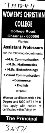 Assistant Proffessor required for English Hindi and Punjabi etc (Womens Christian College (WCC))