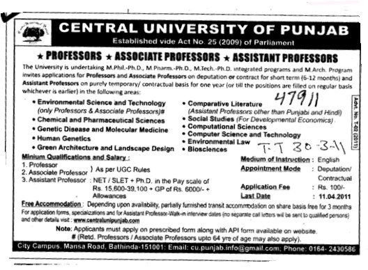 Proffessors Associate Proffessors Lecturers and Assistant Proffessors etc (Central University of Punjab)