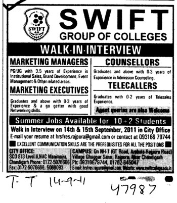 Marketing Manager and telecallers etc (Swift Group of College (SGOC))