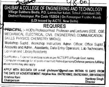 Principal and Lecturers for BTech (Ghubaya College of Engineering and Technology GCET)